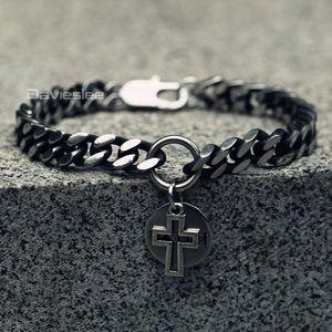 Stainless steel cross round charm bracelet